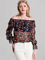 cheap -By Megyn Women's Basic Shirt - Floral Print Off Shoulder