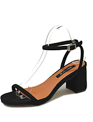 cheap -Women's Shoes PU Summer Ankle Strap Sandals Low Heel Round Toe Split Joint for Casual Dress Black Gray Khaki
