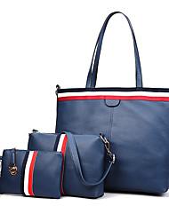 baratos -Mulheres Bolsas PU Conjuntos de saco 3 Pcs Purse Set Bordado Rosa / Cinzento / Roxo