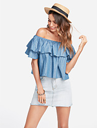 cheap -Women's Going out Cute Petal Sleeve Loose Polo - Solid Colored Off Shoulder