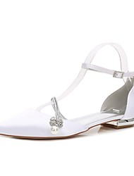 cheap -Women's Shoes Satin Spring / Summer Comfort / D'Orsay & Two-Piece Wedding Shoes Flat Heel Pointed Toe Rhinestone / Bowknot / Imitation