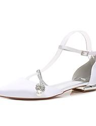 Недорогие -Жен. Обувь Сатин Весна / Лето Удобная обувь / Туфли д'Орсе Свадебная обувь На плоской подошве Заостренный носок Стразы / Бант /