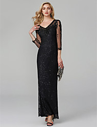 cheap -Mermaid / Trumpet V Neck Floor Length Lace / Sequined Sparkle & Shine Formal Evening Dress with Beading by TS Couture® / Illusion Sleeve