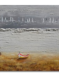 cheap -STYLEDECOR Modern Hand Painted Abstract The Boat in The Grey Background Oil Painting on Canvas for Wall Art