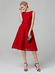 Χαμηλού Κόστους Φορέματα Ξεχωριστών Γεγονότων-Γραμμή Α Χαμόγελο Κάτω από το γόνατο Βαμβάκι / Δαντέλα / Mikado Κοκτέιλ Πάρτι / Χοροεσπερίδα Φόρεμα με Δαντέλα με TS Couture®