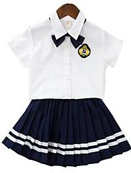 Недорогие -Девочки Повседневные Школа Однотонный Набор одежды, Хлопок Полиэстер Лето С короткими рукавами Очаровательный Активный Темно синий