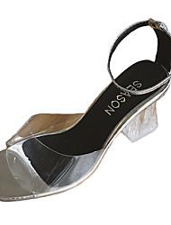 preiswerte -Damen Schuhe PU Sommer Komfort Sandalen Blockabsatz Silber