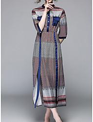 abordables -Femme Vacances Trapèze Robe - Imprimé, Couleur Pleine Mao Maxi
