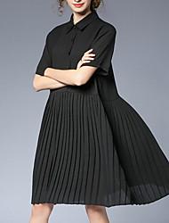 Недорогие -Жен. Большие размеры Шифон Платье - Однотонный, Кружева Рубашечный воротник До колена
