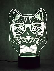 billige Originale lamper-1set Catus 3D nattlys Endring Usb Berør sensoren Med USB-port Fargeskiftende