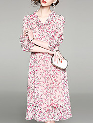 Недорогие -Жен. Изысканный Уличный стиль Оболочка Платье - Цветочный принт, С принтом До колена