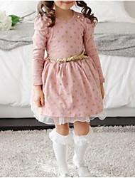 cheap -Girl's Daily Polka Dot Dress, Cotton Winter Spring Long Sleeves Lace Blushing Pink Navy Blue