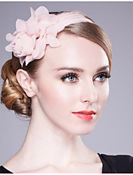 cheap -Chiffon Headbands with Feather Floral 1 Piece Wedding Birthday Headpiece