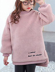 cheap -Girls' Solid Hoodie & Sweatshirt, Cotton Winter Fall Long Sleeves Simple Blushing Pink Camel