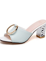 cheap -Women's Shoes Customized Materials Spring / Summer Comfort Sandals Chunky Heel Peep Toe White / Pink / Light Blue / Party & Evening