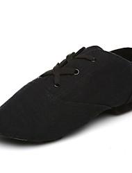 cheap -Men's Jazz Shoes Canvas Flat / Sneaker Indoor Splicing Flat Heel Customizable Dance Shoes Black