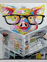 Недорогие -Hang-роспись маслом Ручная роспись - Поп-арт Modern Включите внутренний каркас / Растянутый холст
