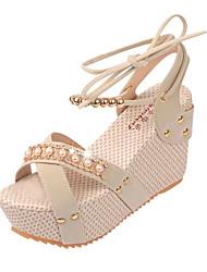 abordables -Mujer Zapatos PU Verano Confort Sandalias Tacón Cuadrado Punta abierta Cierre Autoadherente Blanco / Negro / Azul / Tacones de cuña