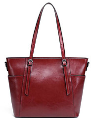 cheap -Women's Bags Genuine Leather Shoulder Bag Buttons Dark Blue / Brown / Wine