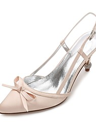 cheap -Women's Shoes Satin Spring / Summer Comfort / D'Orsay & Two-Piece / Basic Pump Wedding Shoes Cone Heel Rhinestone / Sparkling Glitter