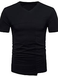 abordables -Tee-shirt Homme, Couleur Pleine - Coton Chinoiserie / Manches Courtes
