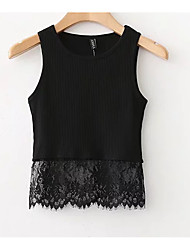 cheap -Women's Basic Tank Top - Solid Colored, Lace