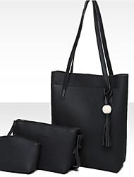 cheap -Women's Bags PU Bag Set 3 Pcs Purse Set Tassel for Casual Spring Fall Black Blushing Pink Gray