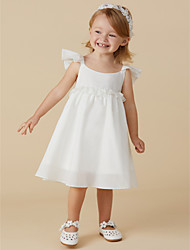 cheap -A-Line Knee Length Flower Girl Dress - Taffeta Short Sleeves Jewel Neck with Pleats by LAN TING BRIDE®