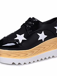 povoljno -Žene Cipele PU Proljeće Jesen Udobne cipele Oksfordice Wedge Heel Trg Toe za Kauzalni Crn Pink Bež
