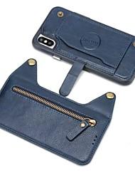 Недорогие -Кейс для Назначение Apple iPhone X / iPhone 8 Plus Кошелек / Бумажник для карт Кейс на заднюю панель Однотонный Твердый Настоящая кожа для iPhone X / iPhone 8 Pluss / iPhone 8