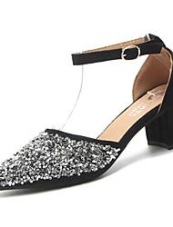 abordables -Femme Chaussures Paillettes Printemps Confort Ballerines Talon Bottier Bout pointu Paillette pour Noir Argent
