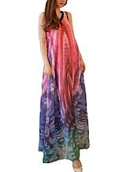 Недорогие -Жен. На выход Праздники Свободный силуэт А-силуэт Платье - Радужный V-образный вырез Макси