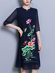 abordables -Femme Grandes Tailles Ample Courte Robe - Brodée, Fleur Col en V Mi-long Noir