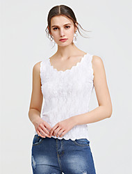 cheap -Women's Beach Tank Top - Solid Colored Lace / Cut Out / Summer