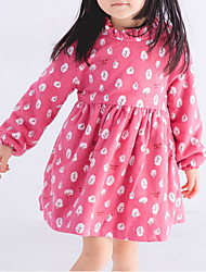 cheap -Girl's Party Daily Going out Holiday School Floral Print Jacquard Dress, Cotton All Seasons Long Sleeves Simple Vintage Cute Red