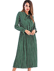 abordables -Femme simple Chic de Rue Trapèze Robe - Noeud, Points Polka Midi