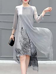 abordables -Femme Grandes Tailles Décontracté Ample Robe - Imprimé Midi