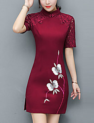cheap -Women's Chinoiserie Street chic Sheath Dress - Color Block, Lace Split Embroidered Patchwork