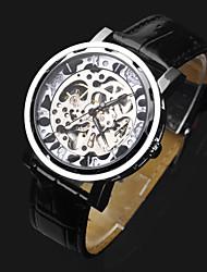 Недорогие -ASJ Муж. Наручные часы / Механические часы Китайский С гравировкой Кожа Группа Роскошь / Мода Черный / С автоподзаводом