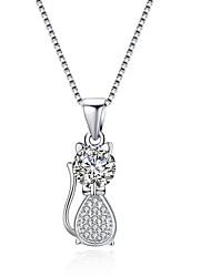 abordables -Femme Chat Zircon S925 argent sterling Pendentif de collier  -  Mode Argent 41cm Colliers Tendance Pour Cadeau Quotidien