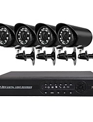 cheap -4 CH Security System with 4ch 1080N AHD DVR 4pcs 1.3MP Weatherproof Cameras with Night Vision