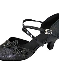 preiswerte -Damen Schuhe für modern Dance Glitzer Absätze Innen Schleife Maßgefertigter Absatz Maßfertigung Tanzschuhe Schwarz
