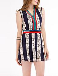 cheap -Women's Cotton Bodycon Dress - Striped Pleated Deep V