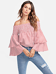 cheap -TS - Dreamy Land Women's Holiday Active Petal Sleeve Shirt - Striped Floral, Ruffle Denim Off Shoulder