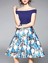 cheap -Women's Street chic Trumpet / Mermaid Dress - Floral