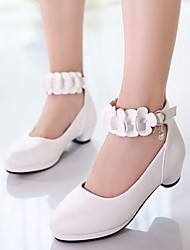 cheap -Girls' Shoes PU(Polyurethane) Spring / Fall Flower Girl Shoes / Tiny Heels for Teens Heels for White / Black / Pink