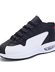 preiswerte -Damen Schuhe Künstliche Mikrofaser Polyurethan Frühling / Sommer Komfort Sportschuhe Walking Flacher Absatz Runde Zehe Schwarz / Rot /