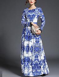 abordables -Femme simple Gaine Balançoire Robe - Imprimé, Fleur Maxi