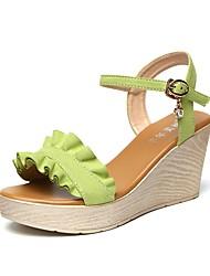 povoljno -Žene Cipele Filc Ljeto Salonke s remenčićem Sandale Wedge Heel Otvoreno toe Štras Kopča za Zabava i večer Crn Zelen Pink