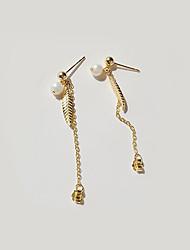 baratos -Mulheres Formato de Folha Pérola / Chapeado Dourado / S925 Sterling Silver Brincos Compridos - Metálico / Fashion / Coreano Dourado